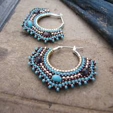 il_fullxfull.6Turquoise Beaded Hoops, Square Hoop Earrings, <b>Silver</b> ...