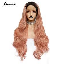 Anogol Pink Ombre Black <b>High Temperature</b> Fiber Peruca U Part ...