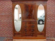 antique inlaid mahogany english wardrobe armoire with oval beveled mirrors antique armoires antique wardrobes english