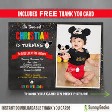 disney vintage style mickey mouse x in birthday party mickey mouse chalkboard style 7x5 in birthday party invitation editable thank you card