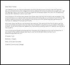 art teacher recommendation letter   livecareerart teacher recommendation letter sample