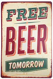 ERLOOD Free Beer Tomorrow Funny <b>Metal</b> Vintage <b>Tin Signs Bar</b> ...