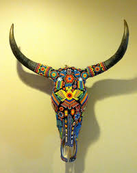 Vintage Huichol Beaded Bull <b>Skull Tribal</b> Art by smartysfunstuff ...
