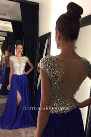 <b>Stunning</b> Cap Sleeve Royal Blue <b>Prom</b> Dresses <b>2018</b> Long <b>Chiffon</b> ...