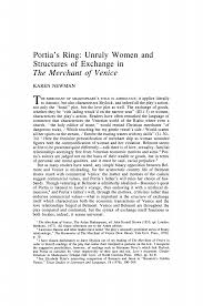 Portia's Ring: Unruly Women and Structures of Exchange in <b>The</b> ...