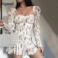 Yojoceli <b>2019 summer</b> palace floral dress women <b>square neck</b> puff ...