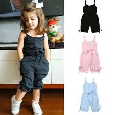 <b>1 6Y Summer</b> Cute <b>Toddler</b> Baby Girl Solid Romper Bib Pants ...