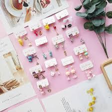 <b>Korean Handmade</b> Cute Pink Heart <b>Star</b> Horse Asymmetric Women ...