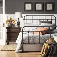<b>Grey Gray Metal Bed Frame</b> Bedroom Furniture Vintage Rustic ...