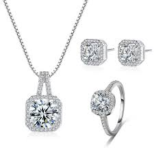 Buy 4 Pcs Women's Jewelries Set <b>Square Zircon Fashion</b> Bridal ...