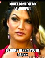 I can't control my eyebrows! Go Home Tierra! You're Drunk - Misc ... via Relatably.com