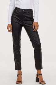<b>Faux Leather Pants</b> - Black -   H&M US