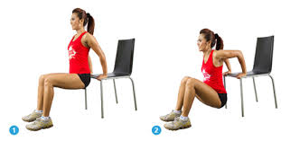Image result for woman chair dip workout