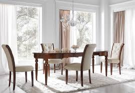 Contemporary Dining Room Sets Cream Fabric Chairs With Brown Wooden Legs Combined With Long