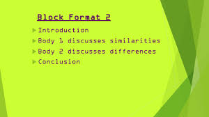compare and contrast essays inform reader about the 4 block format 2 61557 introduction 61557 body 1 discusses similarities 61557 body 2 discusses differences 61557 conclusion