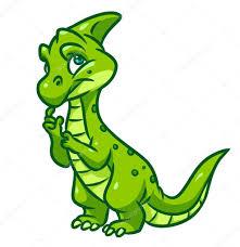 Green <b>thinking dinosaur</b> | <b>Dinosaur</b> green <b>thinking cartoon</b> — Stock ...