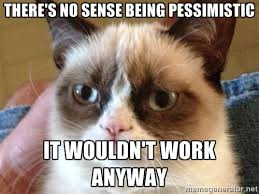 there's no sense being pessimistic it wouldn't work anyway - Angry ... via Relatably.com