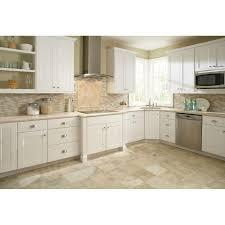 Hampton Bay Kitchen Cabinets Hampton Bay 36x345x24 In Shaker Sink Base Cabinet In Satin White