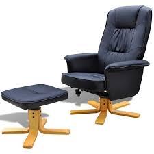 Black Leather <b>TV Armchair with</b> Foot Stool – Novielo London