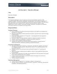 best photos of example job description template sample job operations manager job description template