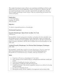Housekeeper Resume Sample Objectives For High School Students Seeking Housekeeping Job