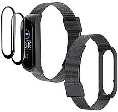 IMBZBK 1 Black Straps <b>Bracelet for Xiaomi Mi</b> Band 5 + 2 pack TPU