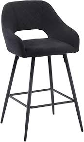 AINPECCA Bar <b>Stool Dark Grey</b> Linen <b>Fabric Upholstered</b> seat with ...