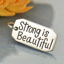 Sterling Silver Message Pendant - <b>Strong is Beautiful</b> | Nina Designs
