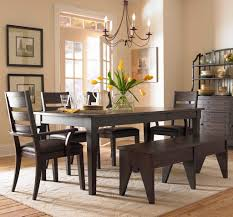 rectangle brown block dining table black