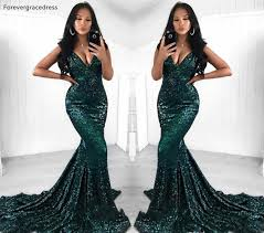 <b>Sexy Dark Green</b> Prom Dresses <b>2019</b> South African <b>Black</b> Girls ...