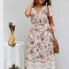 2019 <b>Hot Women's</b> Floral Printed <b>Dress</b> Short Sleeve V-Neck Boho ...