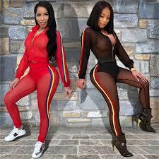 <b>Adogirl Side Stripe Sheer</b> Mesh Women Two Piece Set Solid Long ...