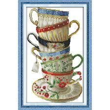 <b>Everlasting love Christmas</b> Elegant <b>coffee</b> cup Chinese cross stitch ...