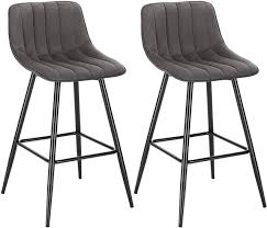 Set of <b>2</b> designer <b>bar stools</b> with footrest - model Elif | Woltu.eu