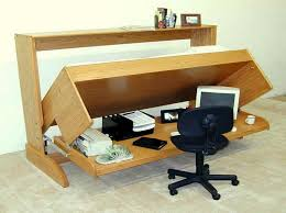 Furniture Creative Wooden Folding Bed That Integrated With Home Office Table In Simple Style