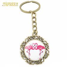 <b>TAFREE</b> Art Picture Design Flamingo Keychain key Chain Women ...