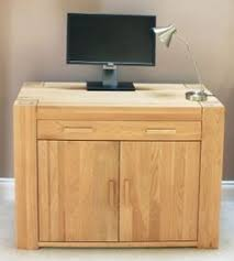 chunky solid oak hidden home office baumhaus atlas oak hidden home office desk aston solid oak hidden