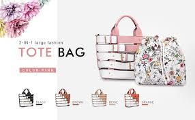 2Pcs Women Large Tote Handbag Top Handle ... - Amazon.com