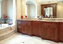 wooden framed wall mirror double sink