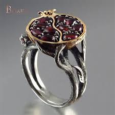 Vintage Round Gold Color <b>Natural Red Garnet Ring</b> Crystal ...