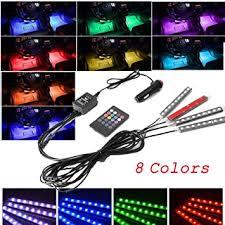 Evangel 4pcs <b>Car</b> Interior <b>Atmosphere</b> Lights with 8 Color 9 <b>LED</b> ...
