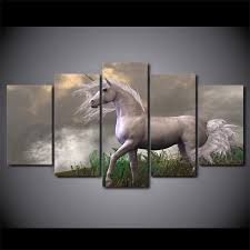 2019 <b>Framed HD Printed Abstract</b> White Horses Wall Art For Kid ...