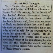 mark twain to deliver a lecture at forrest hall to night courtesy of the peabody room dc public library