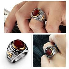 HEAVY Men's Ring SOLID <b>925 STERLING SILVER</b> Natural Red ...