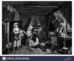 hogarth the distressed poet attic room desk staring at paper hogarth the distressed poet attic room desk staring at paper writer milkmaid debt collection fire place