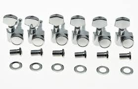 <b>KAISH</b> Chrome <b>6 Inline</b> 2 Pin <b>Locking</b> Tuning Keys Pegs Tuners Fits ...
