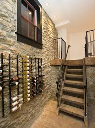 contemporary home design awesome ge profile wine cellar mounted to stone wall combined with wooden stairs awesome wine cellar