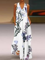 <b>s</b>-<b>5xl elegant</b> women sleeveless v-neck <b>floral</b> maxi dress at Banggood