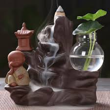 <b>Backflow</b> Incense Burner <b>Ceramic Little</b> Monk <b>Small Buddha</b> Waterfall