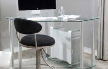 modern glass corner computer desk which combined with black velvet swivel chair awesome pine desks home office